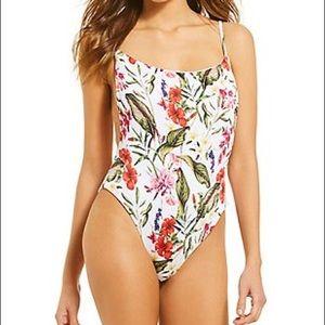🌴Gianni Bini Botanical Babe Ribbed 1pc Swimsuit